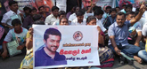 Suriya fans protest in front of Sun TV office in Chennai