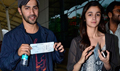 Alia And Varun Leave For Hyderabad HSKD Promotions