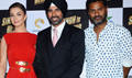 Amy Jackson And Akshay Kumar And Prabhu Deva At First Look Launch Of Singh Is Bling